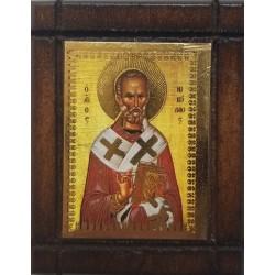 Malá dřevěná nalepovací ikonka se sv. Mikulášem (Nikolaos)
