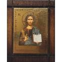 Malá dřevěná nalepovací ikonka s Kristem
