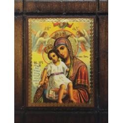 Malá dřevěná nalepovací ikonka s Pannou Marií Královnou nebes