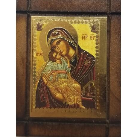 Malá dřevěná nalepovací ikonka s Pannou Marií a Kristem