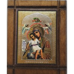 Malá dřevěná nalepovací ikonka s Pannou Marií Vládkyně nebes