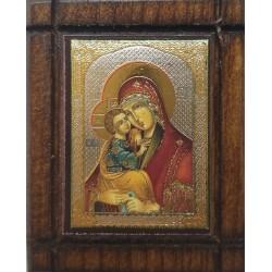 Malá dřevěná nalepovací ikonka s Pannou Marií nebes