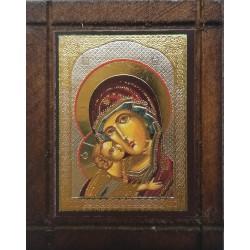 Malá dřevěná nalepovací ikonka s Pannou Marií athoská