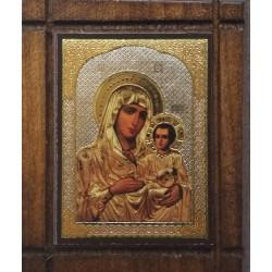 Malá dřevěná nalepovací ikonka s Pannou Marií jeruzalémskou