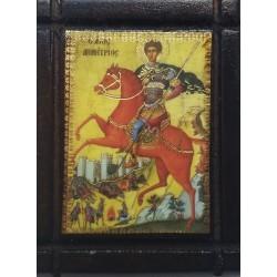 Malá dřevěná nalepovací ikonka se sv. Demetriem