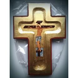 Byzantský ortodoxní kříž s ikonou Ukřižování Krista na plátně