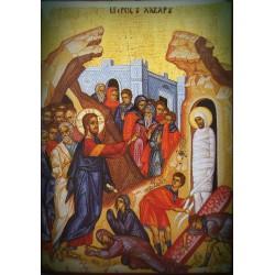Magnetka s ikonou Krista a vzkříšeným Lazarem