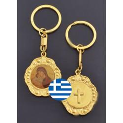 Klíčenka s Pannou Marií a Kristem v pozlaceném rámečku