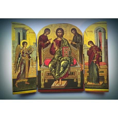 Triptych - ikona přesvaté Bohorodice s archandělem Gabrielem