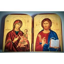 Diptych - Kristus  Pramen života s Pannou Marií