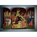Triptych - ikona Narození Páně s archandělem Gabrielem a Bohorodicí
