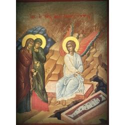 Ikona dvou žen u prázdného hrobu a anděla