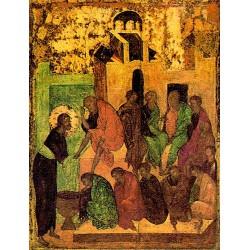 Umývání nohou učedníkům - ikona z 15. stol.