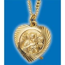 Kovová ikonka s Pannou Marii a Ježíšem na krk