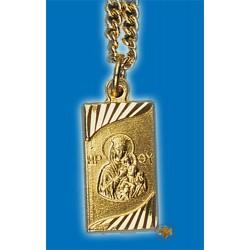 Kovová ikonka na krk s Pannou Marii a Ježíšem