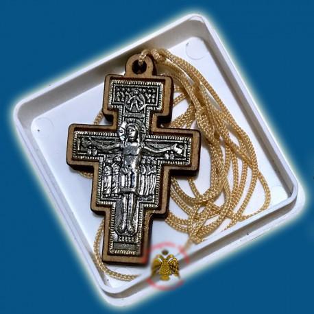 Řecký gravírovaný dřevěný kříž na krk B