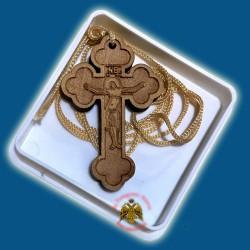 Řecký gravírovaný dřevěný kříž na krk C