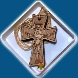 Řecký gravírovaný dřevěný kříž na krk D