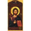 Byzantská ikona s Kristem a andělem na vrchu
