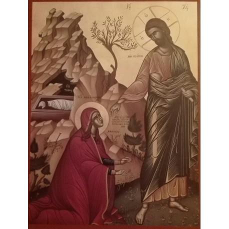 Maria Magdaléna se vzkříšeným Kristem (krétská ikona)