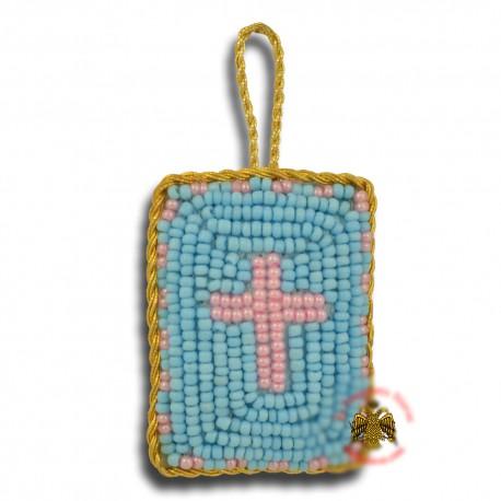 Křesťanský filakton s křížovými korálky (modrý)