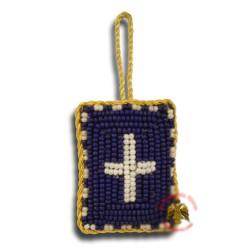 Křesťanský filakton s křížovými korálky (tmavě modrý)