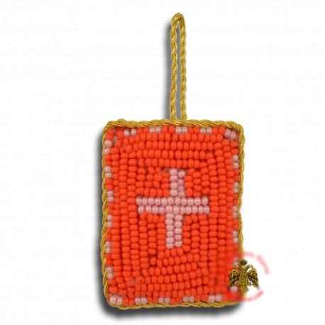 Křesťanský filakton s křížovými korálky (červený)
