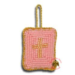 Křesťanský filakton s křížovými korálky (růžový)