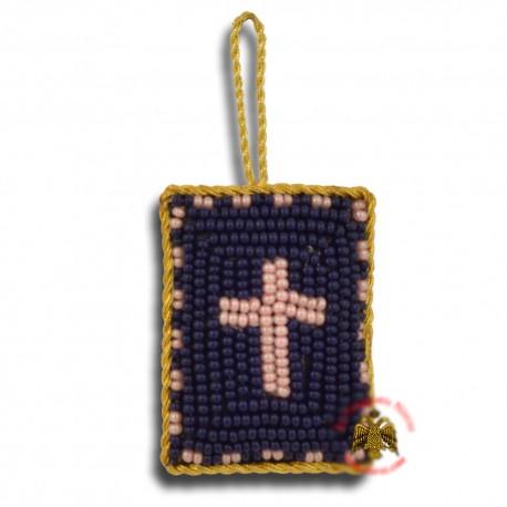 Křesťanský filakton s křížovými korálky (tmavě modrý s červeným křížem))