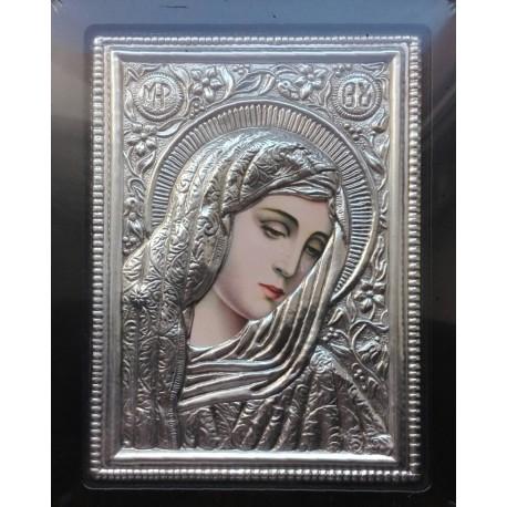 Kovová ikona Panny Marie