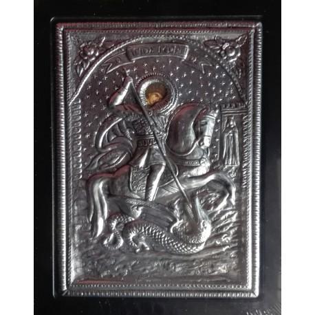 Kovová ikona Sv. Jiří bojujícího s drakem