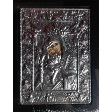 Kovová ikona Panny Marie s malým Kristem