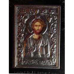 Kovová ikona žehnajícího Krista