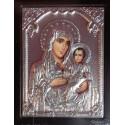Kovová ikona přesvaté Bohorodice s malým Kristem
