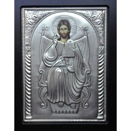 Kovová ikona žehnajícího Krista vládce