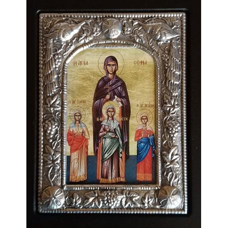 Kovová ikona Moudrosti, Naděje, Víry a Lásky