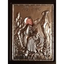 Kovová ikona proroka Elijáše