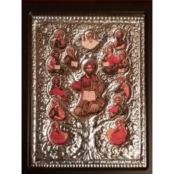 Kovová ikona Kristus strom života