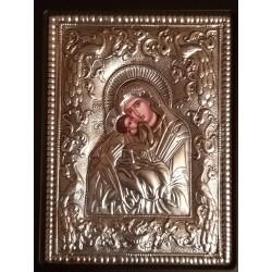 Kovová ikona Panny Marie - Glykofilousa