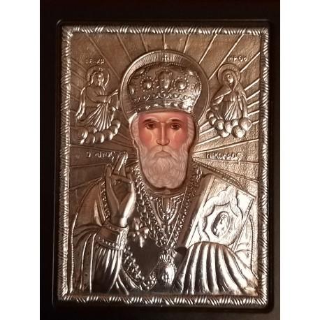 Kovová ikona sv. Mikuláše divotvůrce