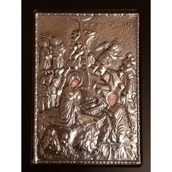 Kovová ikona Narození Krista