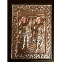 Kovová ikona Archanděla Michaela a Gabriela