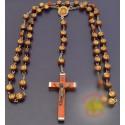 Dřevěný růženec s obrázekem a korálky Panny Marie