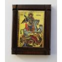 Malá dřevěná nalepovací ikonka se sv. Jiřím