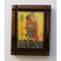 Malá dřevěná nalepovací ikonka se sv. Kryštofem