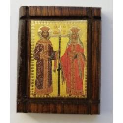 Malá dřevěná nalepovací ikonka se sv. Konstantinem a Helenou