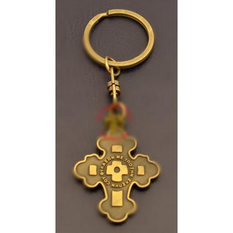 Klíčenka s červeným křížem s pozlaceným kroužkem