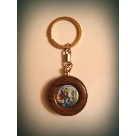Klíčenka s Bohorodicí a Kristem na dřevě